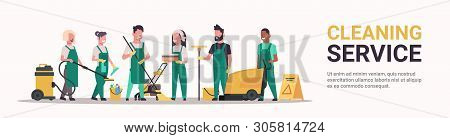 Janitors Team Cleaning Service Concept Male Female Mix Race Cleaners In Uniform Working Together Wit