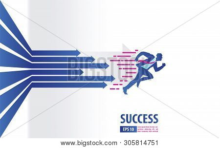 Business Arrows Concept With Businessman Running To Success. Acceleration For Gain A Profit Sales. B