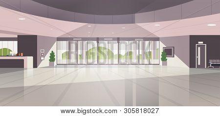 Modern Reception Area Empty No People Lobby Contemporary Hotel Hall Interior Flat Horizontal