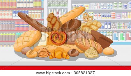 Bread Products In Shopping Mall Supermarket Interior. Whole Grain, Wheat And Rye Bread, Toast, Pretz