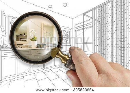 Hand Holding Magnifying Glass Revealing Custom Bathroom Design Drawing and Photo Combination. poster