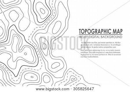 Topographic Map Contour Background. Line Map With Elevation. Geographic World Topography Map Grid Ab