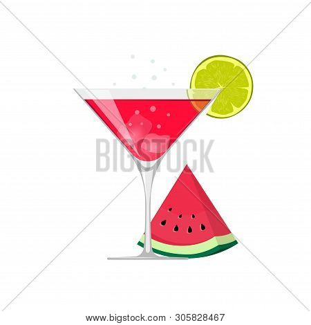 Cocktail Drink Glass Vector Illustration With Ice And Watermelon Slice Isolated On White Flat Cartoo