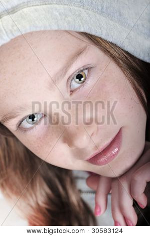 Young girl with calm expression