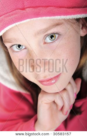 Pretty girl wearing pink hoodie