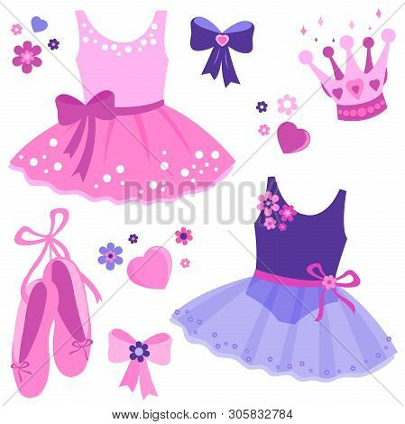 Vector Illustration Set Of Cute Pink And Purple Ballerina Dancer Girl Outfits, Ballet Shoes, Ribbons