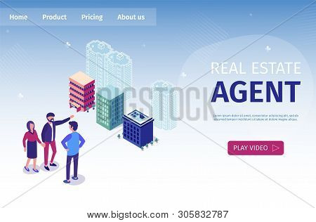 Vector Illustration Real Estate Agent Isometric. People Express Their Wishes Regarding Choice Housin