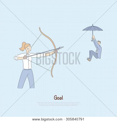 Woman Aiming Bow With Arrow At Coworker, Man Floating Down On Umbrella, Hostile Competitive Environm