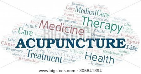 Acupuncture Word Cloud. Wordcloud Made With Text Only.