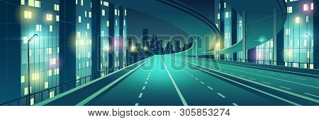 Night Metropolis Empty, Four-lane, Illuminated With Street Lights Speed Highway, Town Freeway With O
