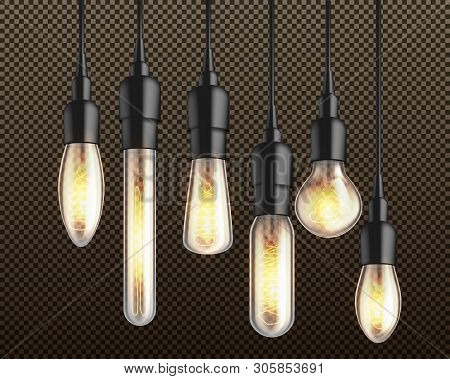 Glowing In Darkness Different Shapes And Forms Incandescent Light Bulbs With Heated Wire Filament Ha