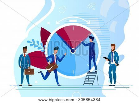Vector Illustration Time Control Cartoon Flat. Colleagues For Work In Hurry To Do Work. Men In Busin