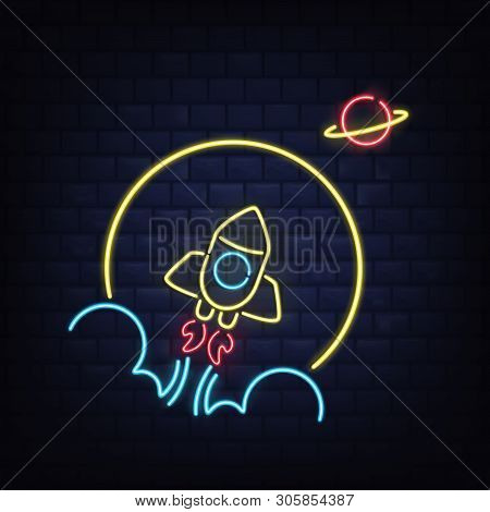 Nightclub Retro Neon Signboard Realistic Vector Template. Taking Off Rocketship With Flame And Smoke