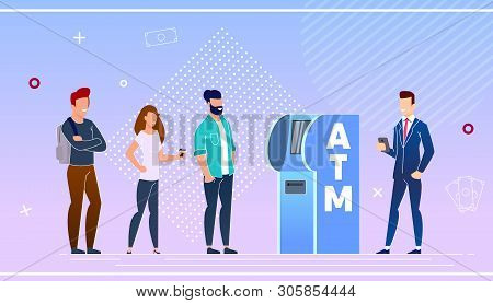 poster of Bank Customers Using an Atm Vector Illustration. Advantage Online Payment Before Withdrawing Cash in Bank Equipment. Men and Women Stand in Line At Atm Cartoon Flat. Bank Equipment.