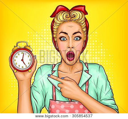 Bad Memory And Forgetfulness, Lack Of Time For Housework Pop Art Vector Concept. Shocked Housewife I