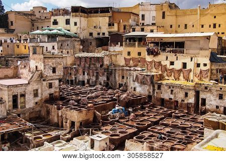Traditional leather production in old city Fes, Morocco in Africa poster