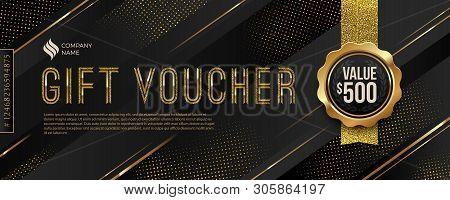 Gift Voucher Template With Glitter Gold Elements. Vector Illustration. Design For Invitation, Certif