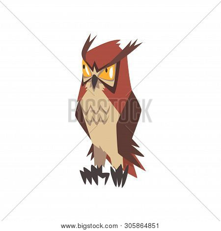 Funny Angry Eurasian Eagle Owl Bird Character With Brown Plumage Vector Illustration