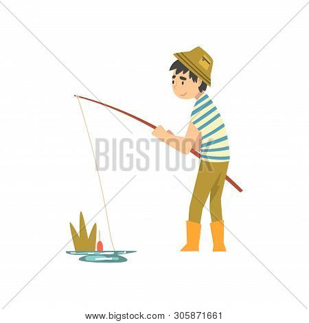 Cute Boy Fishing With Fishing Rod, Little Fishman Cartoon Character In Rubber Boots Vector Illustrat