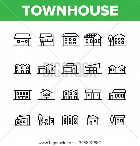 Townhouses, Residential Buildings Vector Linear Icons Set. Townhouse, Cottage And Villa Outline Symb