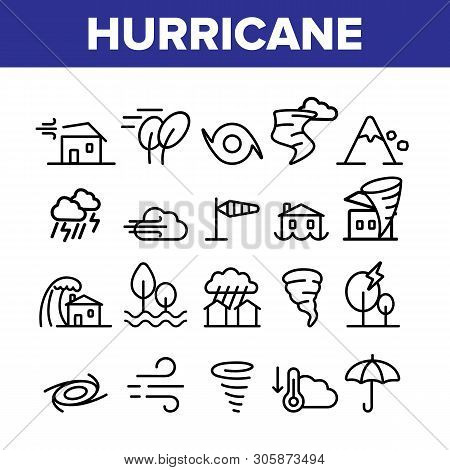 Hurricane Natural Disaster Vector Linear Icons Set. Hurricane, Wind And Tornado Outline Symbols Pack