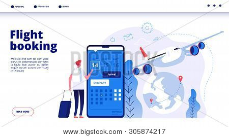 Flight Booking. Online Budget Travel Booking In Internet Plane Flights Reservation Vacation Holiday