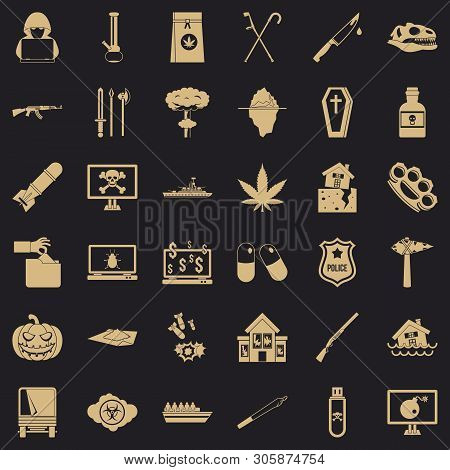 Oppression Icons Set. Simple Set Of 36 Oppression Vector Icons For Web For Any Design