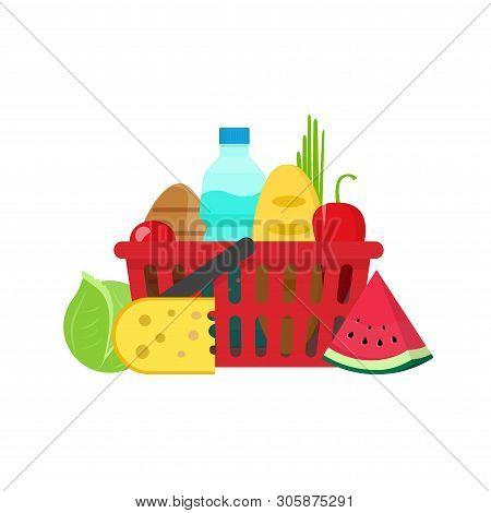 Grocery Food Shopping Basket Vector Illustration Flat Carton Design, Fresh Healthy Organic Meal Isol