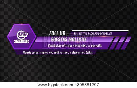 Unique Video Headline Title Or Lower Third Template. Vector Illustration - Purple Color