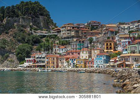 Parga, Greece - July 17, 2014: Summer View Of Coastal Street Of Town Of Parga, Epirus, Greece