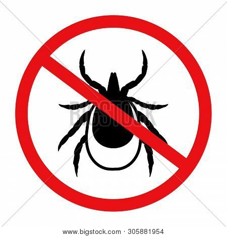 Vector Image Of A Tick In A Red Crossed-out Circle - Tick Stop Sign