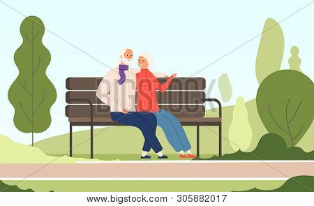 Elderly Couple Park. Seniors Happy Grandfather Grandmother Sitting On Bench Old Family In Summer Nat
