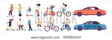 People Riding. Man Woman With Electric Vehicles Ride Motorbike Skateboard Scooter Skate Car Bicycle