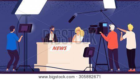 Tv Studio News. Journalists Stage Desk Tv Broadcasting Professional Crew Cameraman Television Interv