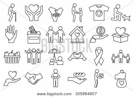 Volunteering Charity Icons Set. Outline Set Of Volunteering Charity Vector Icons For Web Design Isol