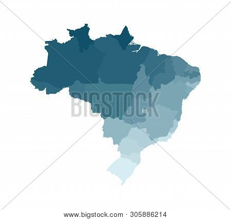 Vector Isolated Illustration Of Simplified Administrative Map Of Brazil. Borders Of The Regions. Col