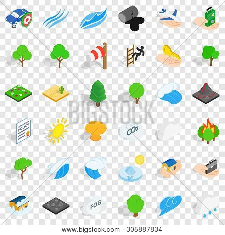 Fire Icons Set. Isometric Style Of 36 Fire Vector Icons For Web For Any Design