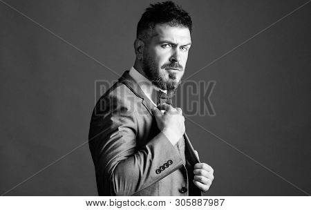 Male Fashion And Aesthetic. Businessman Formal Outfit. Classic Style Aesthetic. Perfect Suit Fit Him