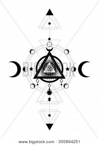 Eye Of Providence. Masonic Symbol. All Seeing Eye Inside Triple Moon Pagan Wicca Moon Goddess Symbol