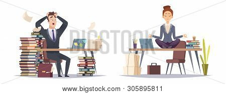 Deadline Panicked Businessman And Organized Business Woman. Two Type Of Businesspeople Vector Concep