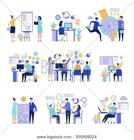 Effective Management. Organizing Work Processes With Tasks On Project Board Activities Business Peop