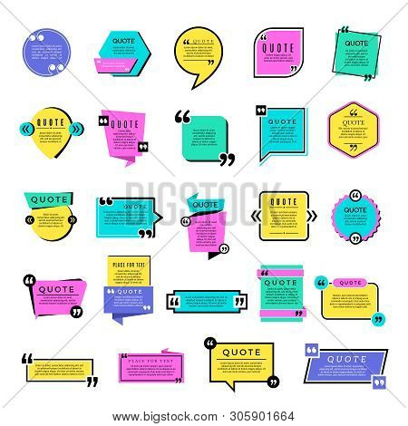 Quote Templates. Blog Text Notes Remarks Rectangle Graphic Shapes Vector Objects. Blog Quote Note, R
