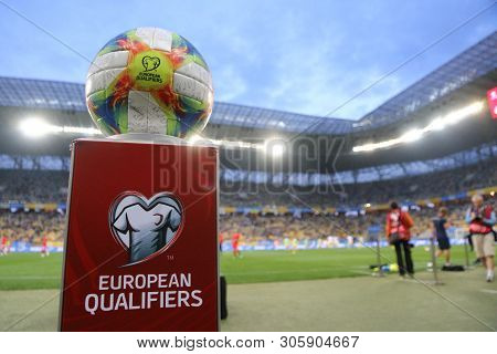 Lviv, Ukraine - June 7, 2019: Official Uefa Euro 2020 Qualifiers Matchball Adidas Conext19 On The Pe