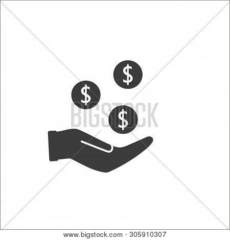 Pictograph Of Money, Casino Chips, Coins In Hand. Fill Vector Icon. - Vector