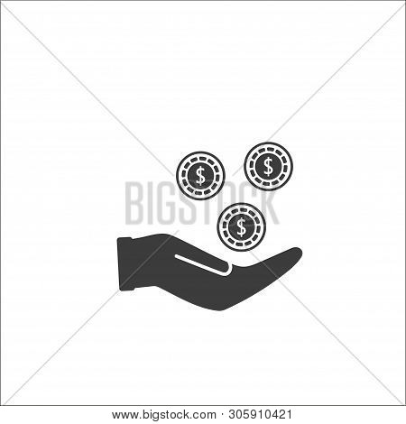 Pictograph Of Money In Hand. Transfering, Giving Dollars, Coins. Vector Icon 10 Eps - Vector