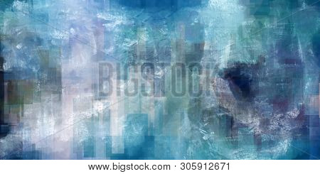 Modern Abstract Painting in Blue Colors. 3D rendering
