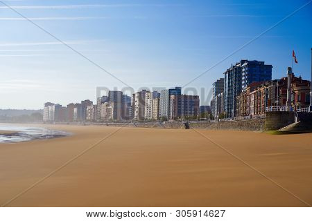 Gijon playa San Lorenzo beach in Asturias Spain