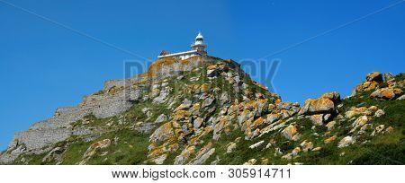 Islas Cies islands lighthouse monte del Faro Cies in Vigo of Galicia