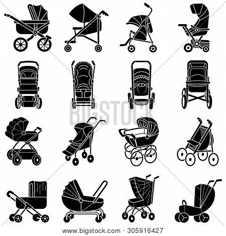 Pram Icons Set. Simple Set Of Pram Vector Icons For Web Design On White Background