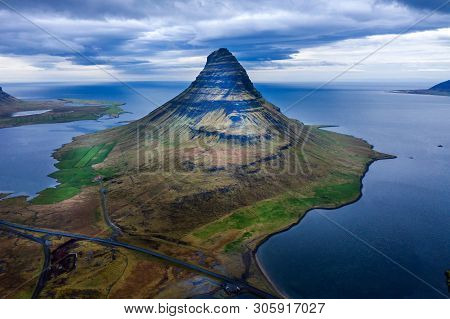 Aerial Drone View Of Kirkjufell Mountain, Iceland